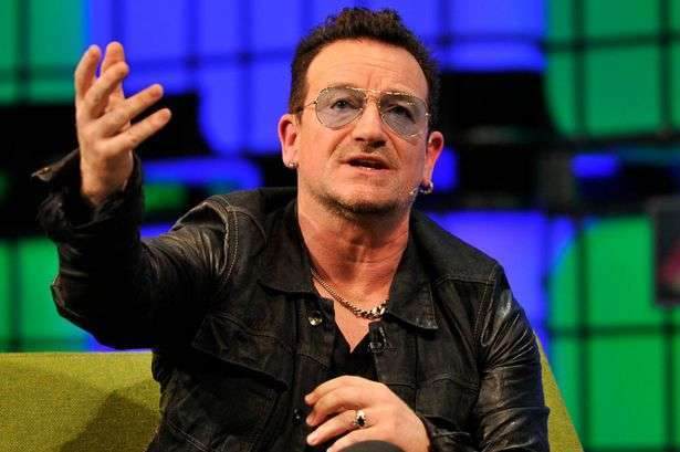 Bono from U2 speaking - plays bingo