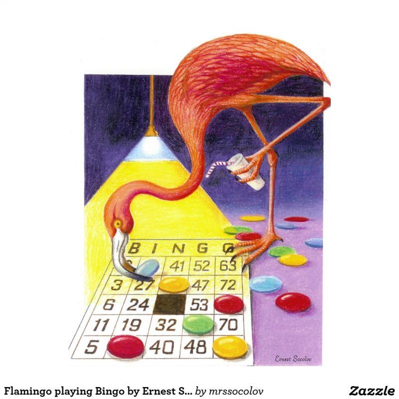 flamingo playing bingo by ernest socolov