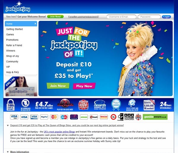 Jackpotjoy homepage screenshot