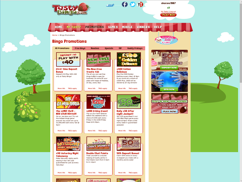 Tasty Bingo - promotions page