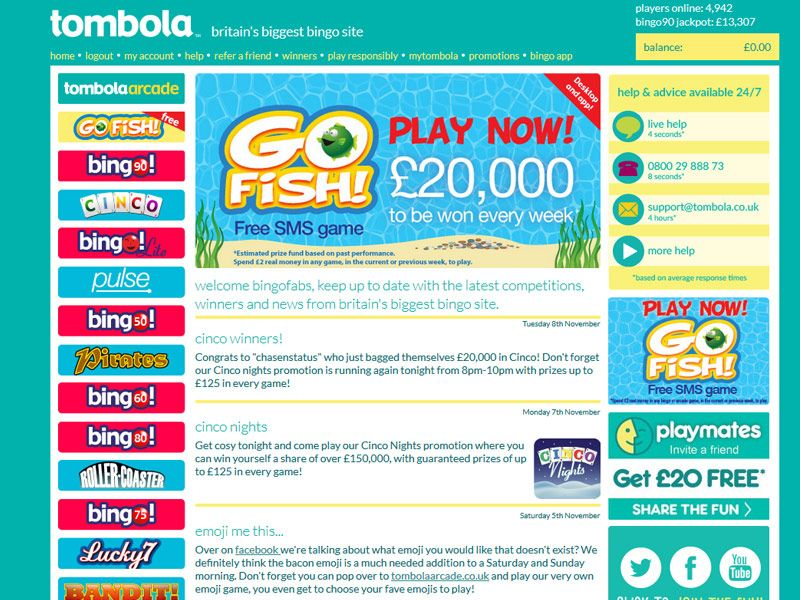 Tombola Login Play Bingo Online