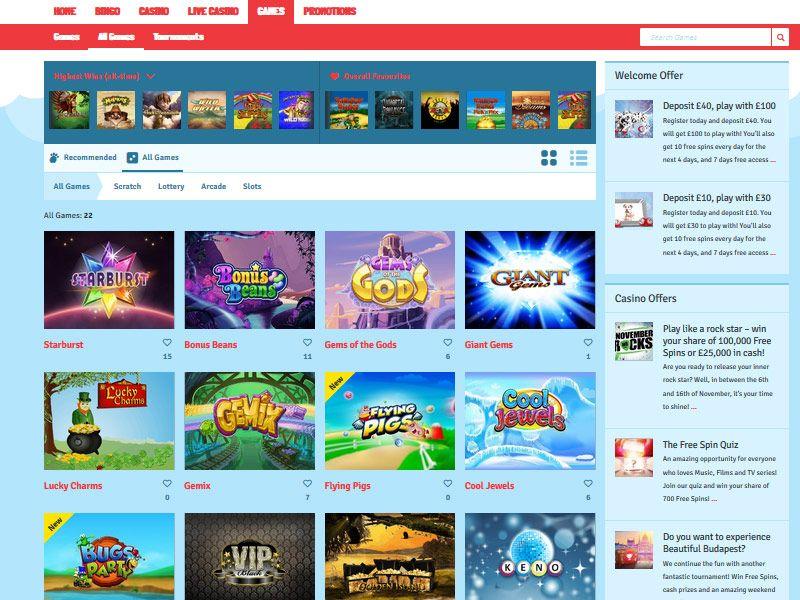 Bingo.com games sample page
