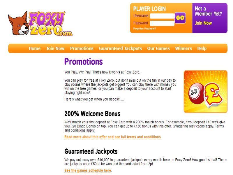 Foxy-Zero-Promotions-Page
