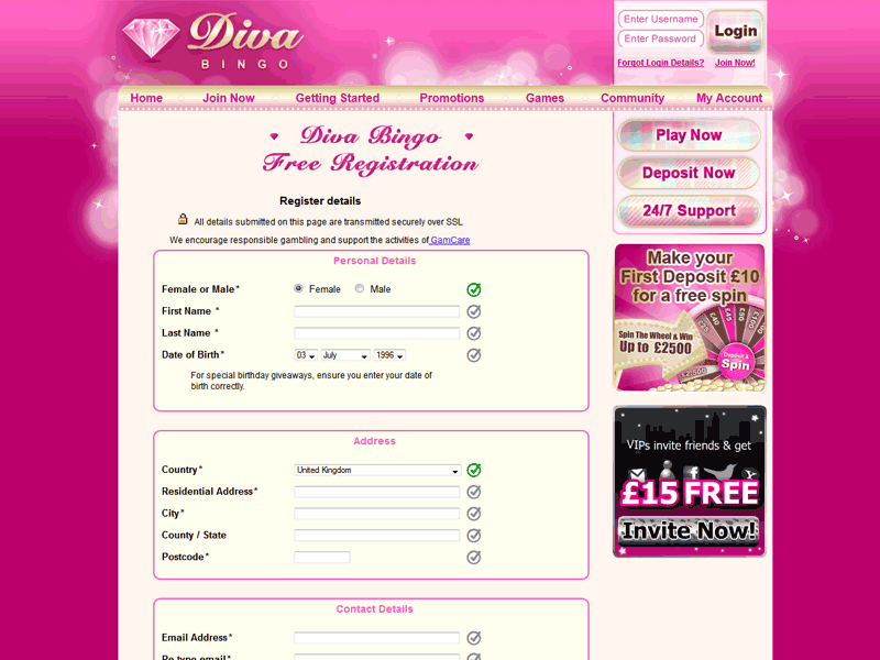 Diva registration form