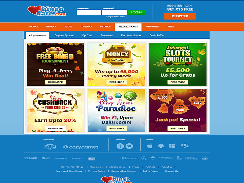 Bingo Date - Promotions Page