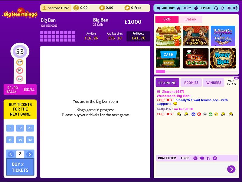 BigHearts Bingo - Lobby