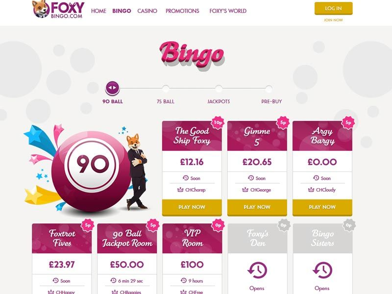 Foxy Bingo Lobby Screenshot