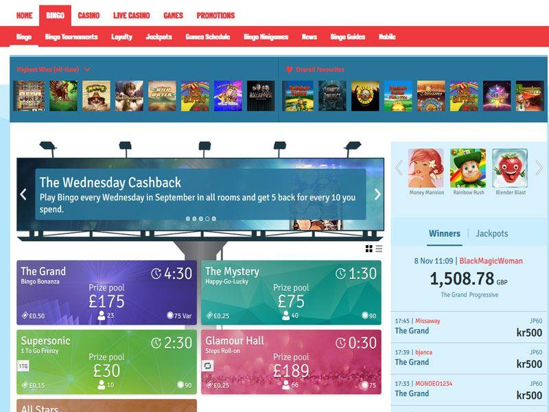 Bingo.com bingo lobby screenshot