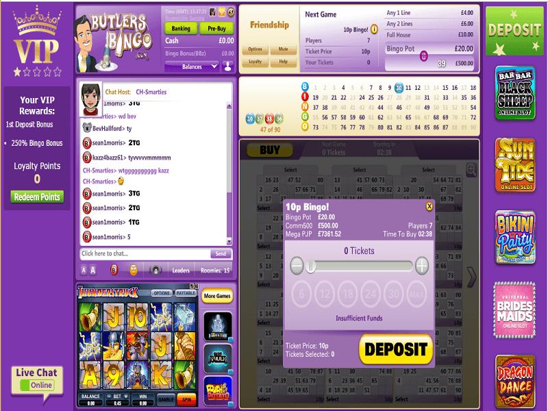 Butlers Bingo Bingo in Play